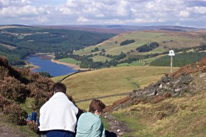 Taking a breather above Ladybower and Derwent reservoirs