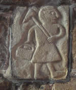 Carving of a lead miner in Wirksworth church.